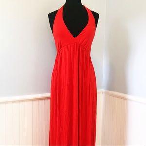 Rachel Pally Bright Red Halter Maxi Dress
